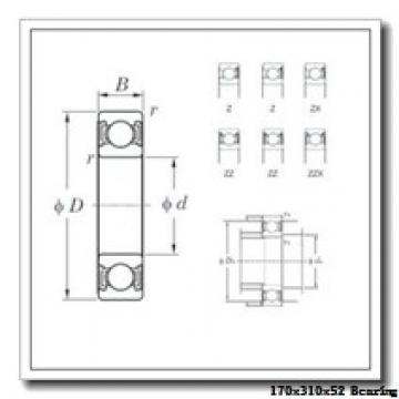170 mm x 310 mm x 52 mm  KOYO 7234CPA angular contact ball bearings