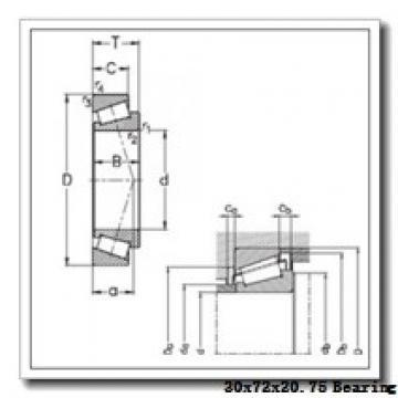 30 mm x 72 mm x 19 mm  KBC 30306J tapered roller bearings