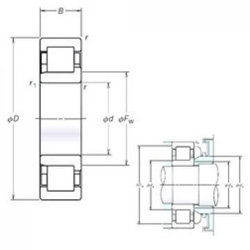 190 mm x 340 mm x 92 mm  NSK NJ2238EM cylindrical roller bearings
