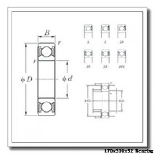 170 mm x 310 mm x 52 mm  NACHI 7234CDB angular contact ball bearings #2 image